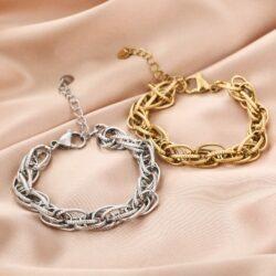 Chain armband goud en zilver