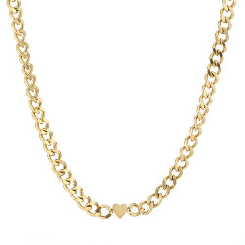 Chain heart ketting goud