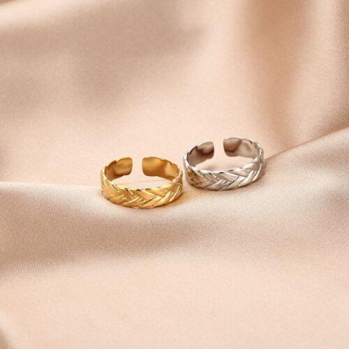 leaves ring goud zilver