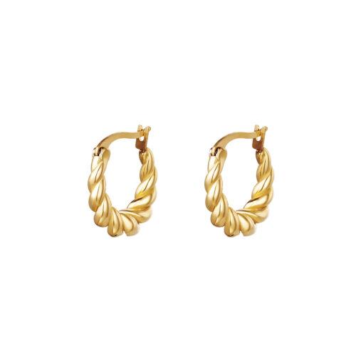 Twisted oorbellen goud