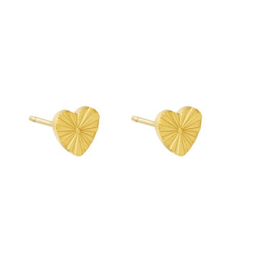 Heart stud oorbellen goud