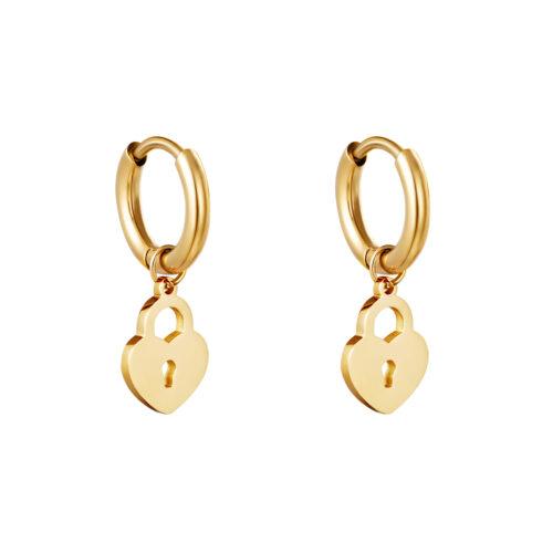 heart lock oorbellen goud