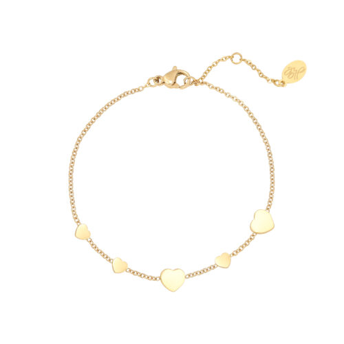 multiple hearts armband goud
