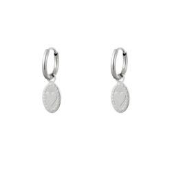 heart coin oorbellen