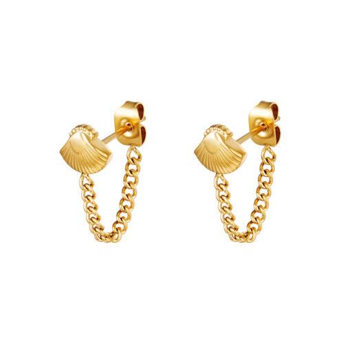 Seashell chain oorbellen goud