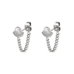 Seashell chain oorbellen