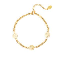 Smiley face armband goud