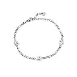 Smiley face armband zilver