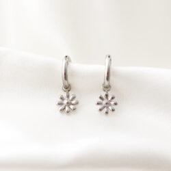 daisy oorbellen zilver