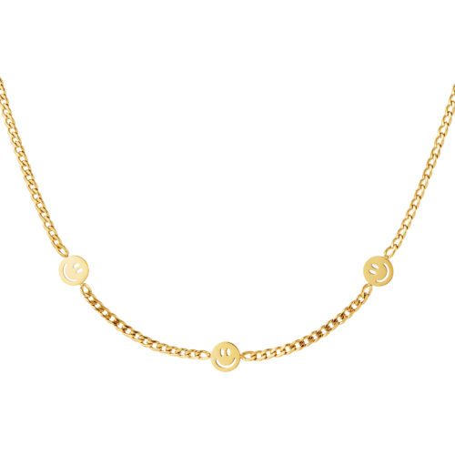 3 Smiley Faces ketting goud