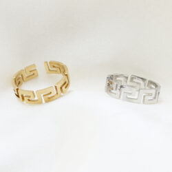 labyrint ring goud zilver