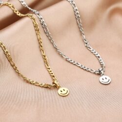 smiley face ketting zilver goud