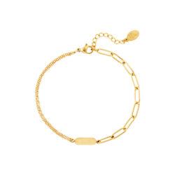 Charm chain armband goud