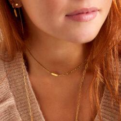 Charm chain ketting goud aanfoto