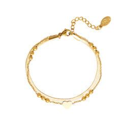Multi chain heart armband goud