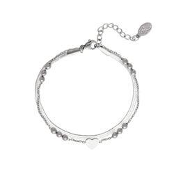Multi chain heart armband zilver