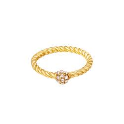 Twisted zirkonia ring goud