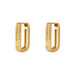 Woven rectangle oorbellen goud