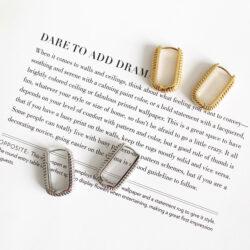 rechthoekige oorbellen goud zilver